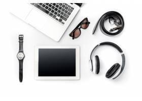 商务工作场所现代男性配件和白色笔记本电_7540005