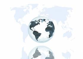 世界地图背景上的抽象地球仪_1181940