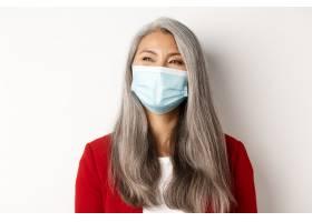 Covid流行病和商业概念幸福的亚洲女商_13096154