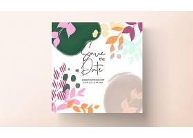 带彩色花朵的平面设计婚礼邀请卡_13070197