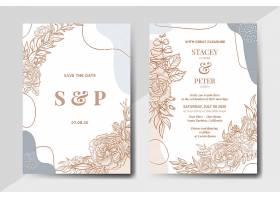 手绘复古花卉带有抽象形状的婚礼邀请卡_10683635