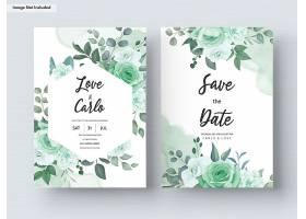 绿色植物花叶套装婚礼邀请函模板_12443923