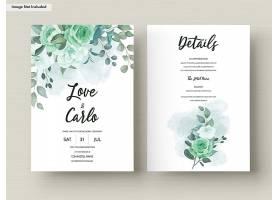 绿色植物花叶套装婚礼邀请函模板_12443926