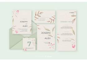 绿色色调婚礼用信纸和信封_5889325