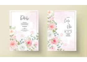 美丽的婚礼请柬上有美丽的鲜花_13204359