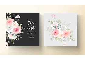 美丽的婚礼请柬上有美丽的鲜花_13204366