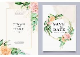 一种带漂亮水彩花环的结婚贺卡模板_7187963