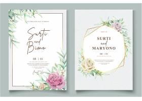 优雅的手绘婚宴请柬花卉设计_10947772