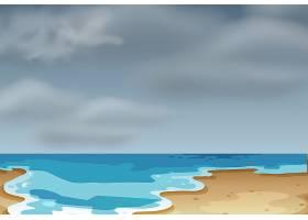 多云的海滩景色_4366253