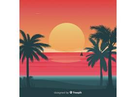 坡度海滩落日景观背景_4727170