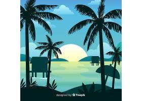 坡度海滩落日景观背景_4920531