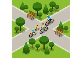 城市公园骑行家庭等距横幅_3887732