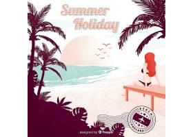 复古暑假明信片_4302453