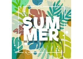 带叶子的五颜六色的夏季墙纸_8509383