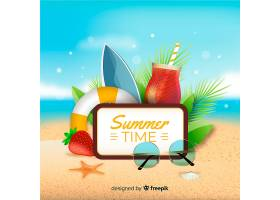 带有夏季对象的逼真夏季背景_4830902