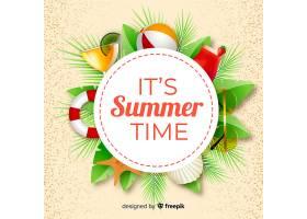 带有夏季对象的逼真夏季背景_4830903