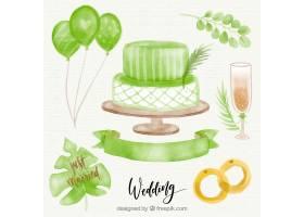 带有戒指和水彩画对象的婚礼蛋糕背景_1123987