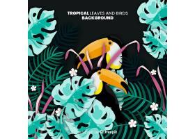 2D热带树叶和鸟类背景_4256945