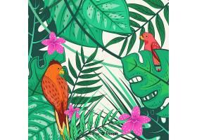 2D热带树叶和鸟类背景_4256947