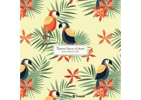 2D热带树叶和鸟类背景_4256951