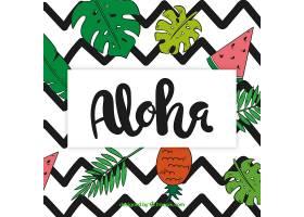 ALOHA背景配以树叶和水果的图画_1161093