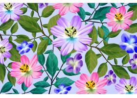不同的逼真色彩斑斓的花卉背景_6046661