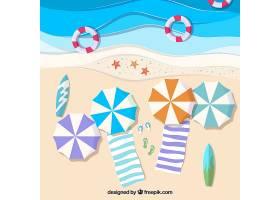 从顶部开始使用纸张质地的海滩_2474190