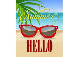 你好印有海边和太阳镜的夏日字样_2540743