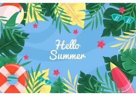 你好夏天的水和树叶的背景_8508115