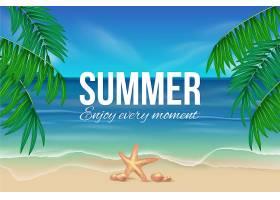 带海滩的逼真夏日壁纸_8503384
