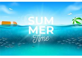 带海滩的逼真夏日背景_8503377