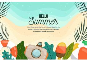 带相机和海滩的夏日背景_8377753