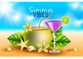 带鸡尾酒的逼真夏日背景_8271224