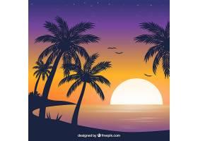 平坦的落日背景有棕榈树_2303019