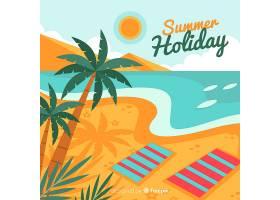平坦风格的热带海滩背景_2764148