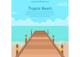 平坦风格的热带海滩背景_2764152