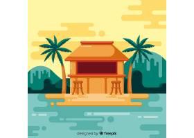 平坦风格的热带海滩背景_2764154