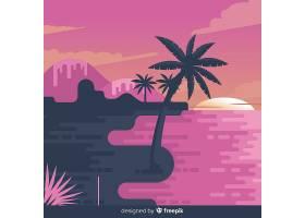 平坦风格的热带海滩背景_2764155