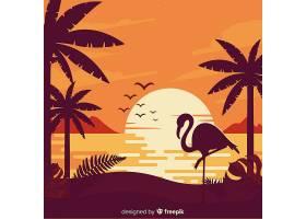 平坦风格的热带海滩背景_2764156