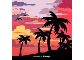 平坦风格的热带海滩背景_2764158