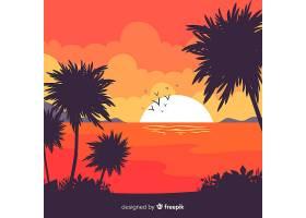 平坦风格的热带海滩背景_2764159