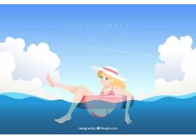 你好夏日背景和可爱的女孩_2786676