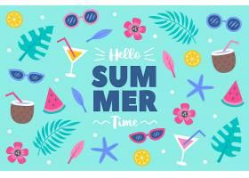 你好水上的夏日手绘背景_8245242