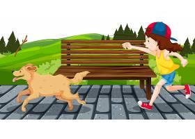 公园里带着狗的女孩_4317350
