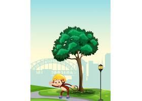 公园里玩旱冰的猴子_4428203