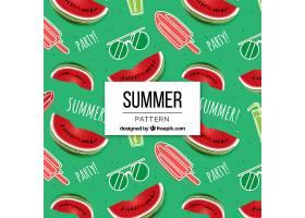 冰激凌和西瓜的夏日图案_2488415