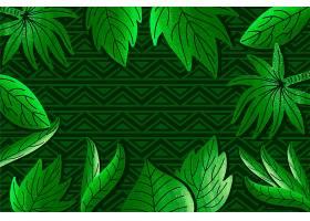 几何背景上的绿色热带树叶_8247375