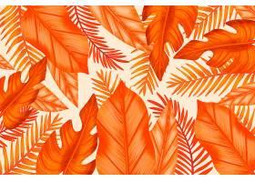 单色橙色热带叶子_8134781