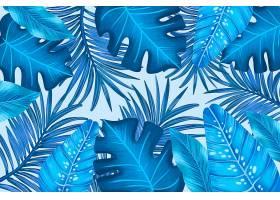 单色蓝色热带树叶_8134782