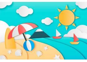 纸质款式设计中的夏日背景_8278778